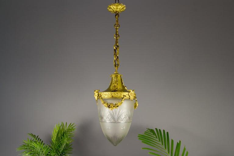 French Louis XVI Style Bronze and Cut-Glass Hall Lamp Lantern Pendant 5
