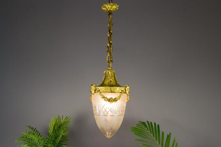 French Louis XVI Style Bronze and Cut-Glass Hall Lamp Lantern Pendant 6