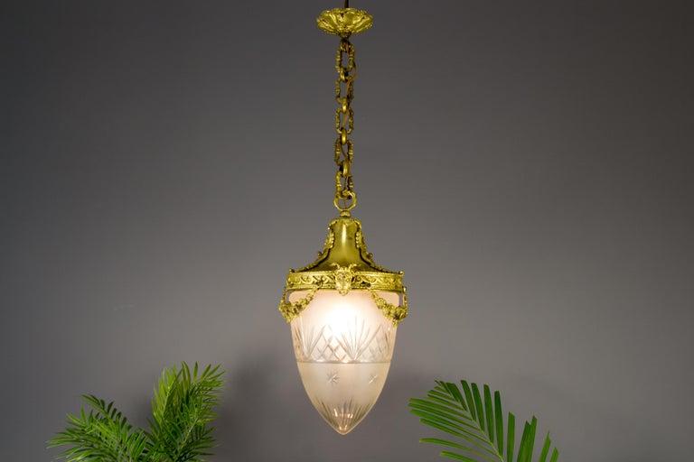 French Louis XVI Style Bronze and Cut-Glass Hall Lamp Lantern Pendant 15