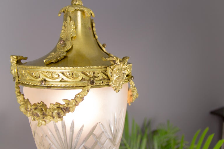 Early 20th Century French Louis XVI Style Bronze and Cut-Glass Hall Lamp Lantern Pendant