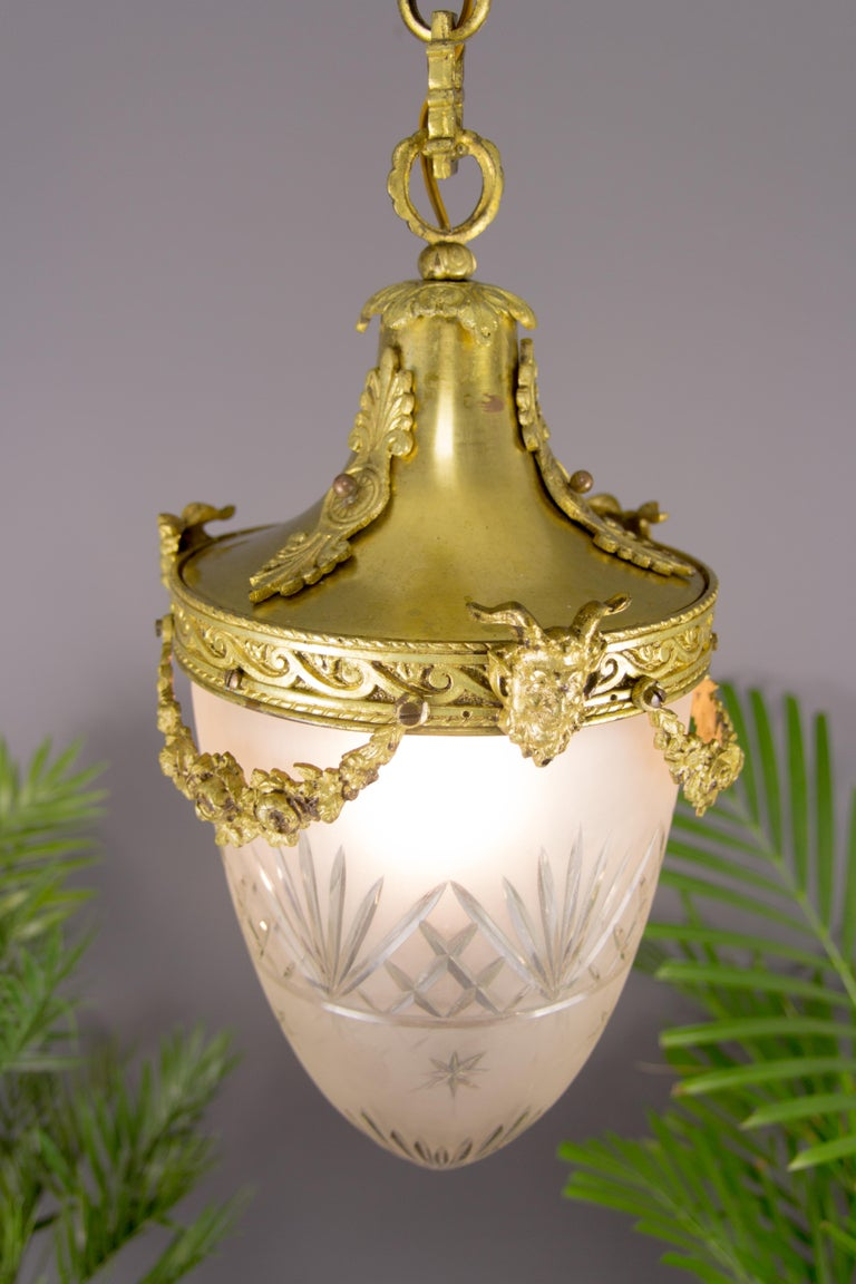 French Louis XVI Style Bronze and Cut-Glass Hall Lamp Lantern Pendant 1