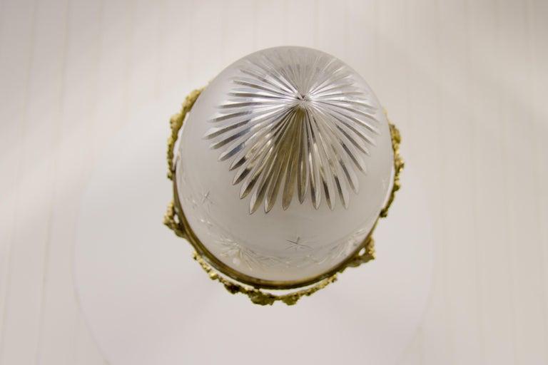 French Louis XVI Style Bronze and Cut-Glass Hall Lamp Lantern Pendant 8
