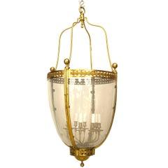 French Louis XVI Bronze Dore and Glass Hanging Lantern