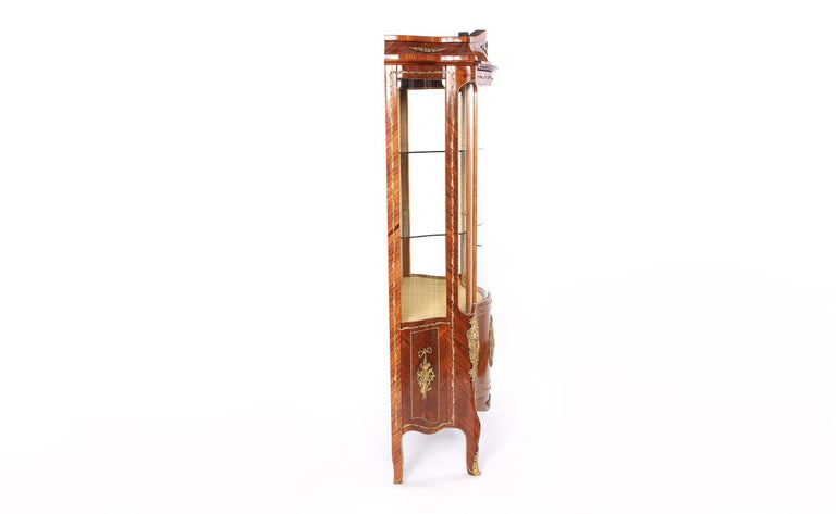European Louis XVI Style Bronze Mounted Display China Cabinet For Sale