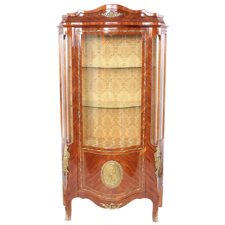 Louis XVI Style Bronze Mounted Display China Cabinet For Sale