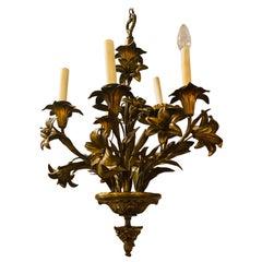 Louis XVI Style Bronze Mounted Five-Light Tulip Design Chandelier Fixture