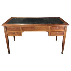 Louis XVI Style Bronze Mounted Inlaid Walnut and Leather Desk