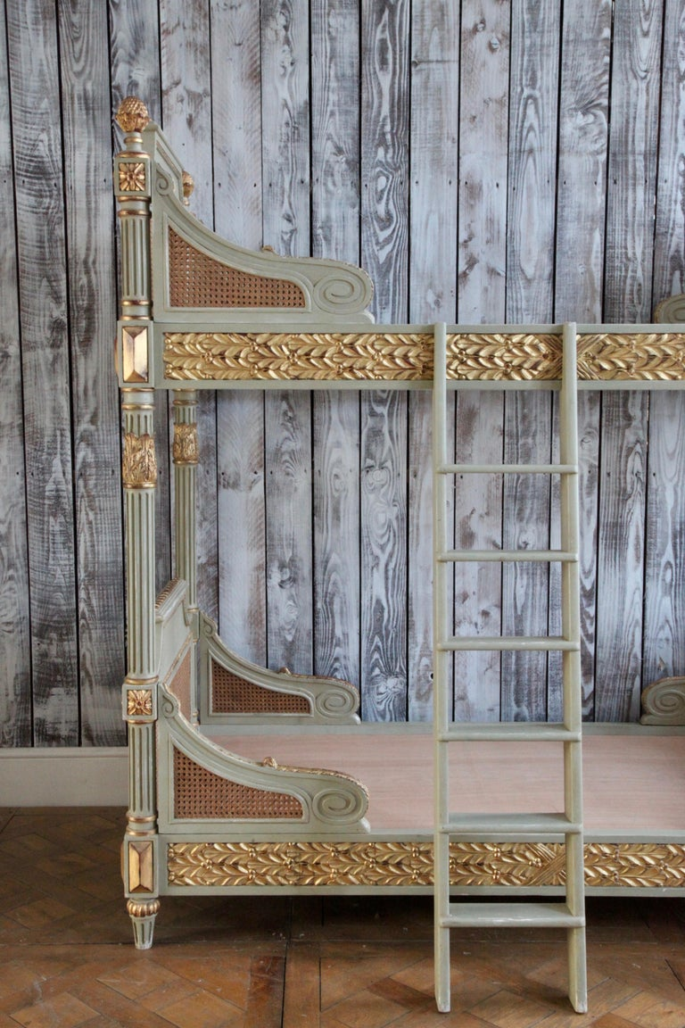 Louis XVI Style Bunk Beds/Matching Pair of Single Beds Made by La Maison London For Sale 3