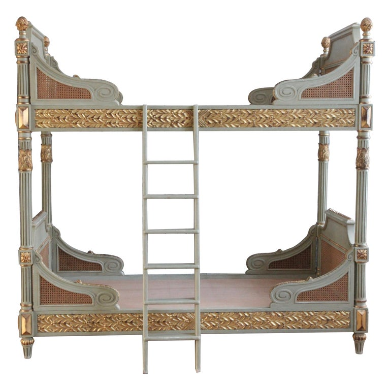 Louis XVI Style Bunk Beds/Matching Pair of Single Beds Made by La Maison London For Sale