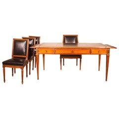 Louis XVI Style Bureau, 1 Armchair and 3 Chairs Louis XVI Style