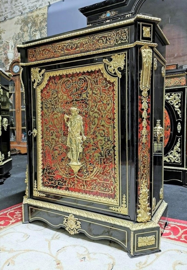 French Louis XVI Style Cabinet, Boulle Marquetry, France For Sale