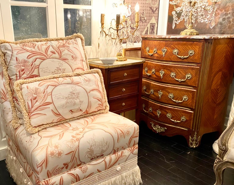 Louis XVI Style Cabinet or Nightstand with Marble Top, Bronze Gallery For Sale 4