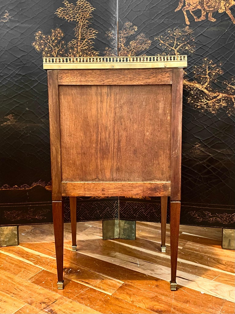Louis XVI Style Cabinet or Nightstand with Marble Top, Bronze Gallery For Sale 7