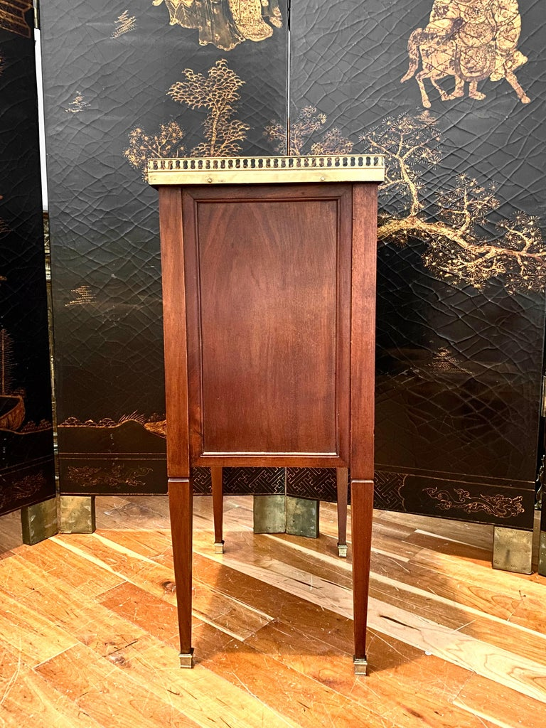 French Louis XVI Style Cabinet or Nightstand with Marble Top, Bronze Gallery For Sale