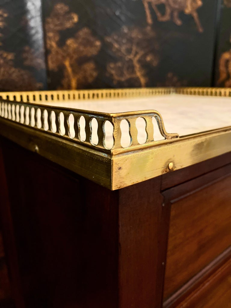 Louis XVI Style Cabinet or Nightstand with Marble Top, Bronze Gallery In Good Condition For Sale In Montreal, Quebec