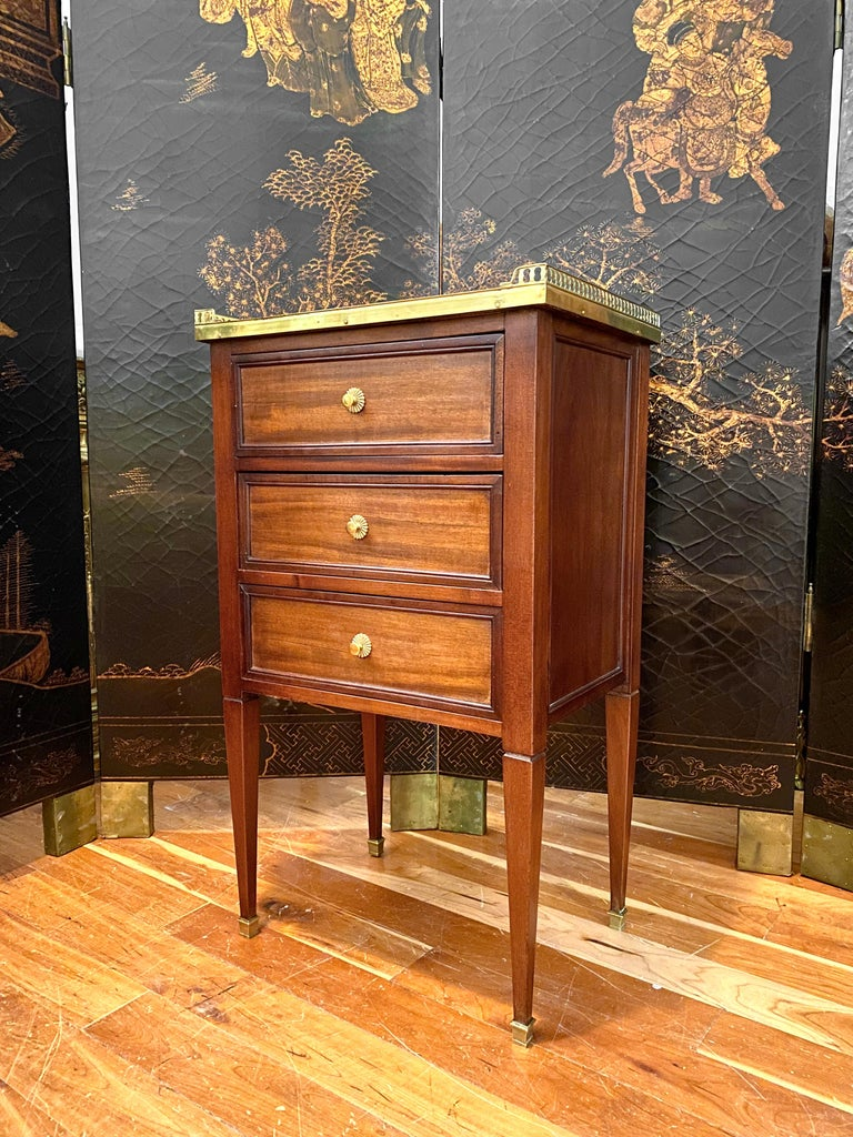 20th Century Louis XVI Style Cabinet or Nightstand with Marble Top, Bronze Gallery For Sale
