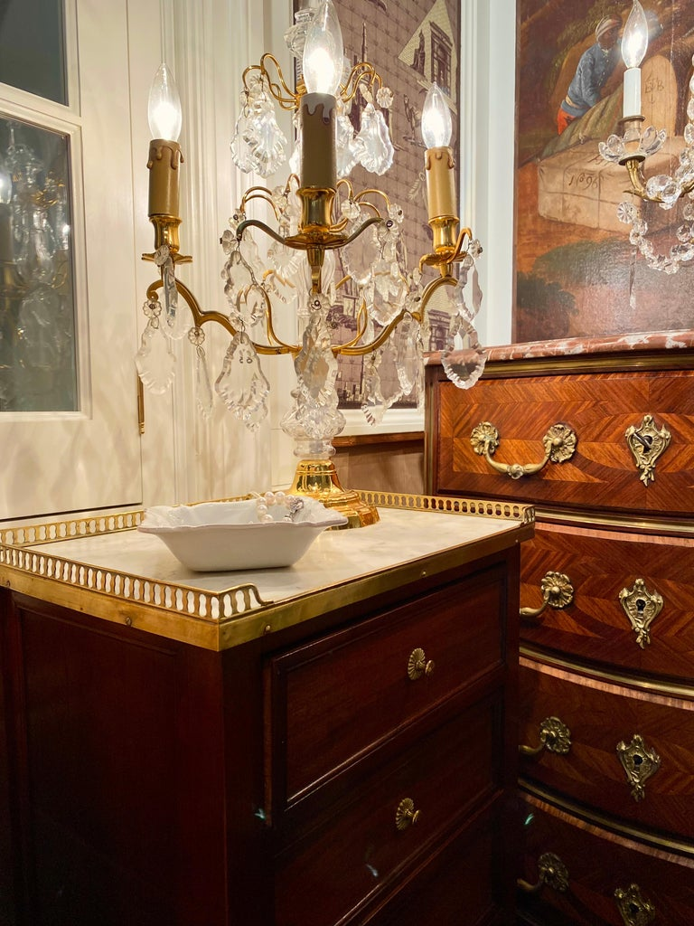 Wood Louis XVI Style Cabinet or Nightstand with Marble Top, Bronze Gallery For Sale