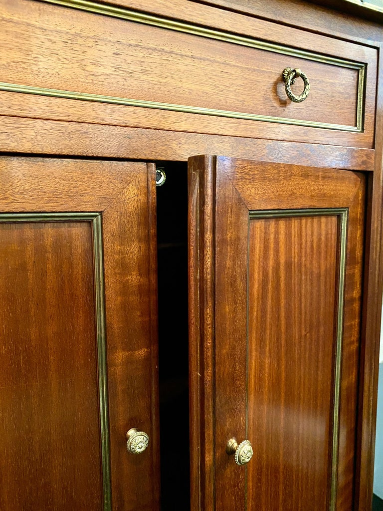 Louis XVI Style Cabinet or Small Cupboard with Marble Top, Bronze Gallery For Sale 8