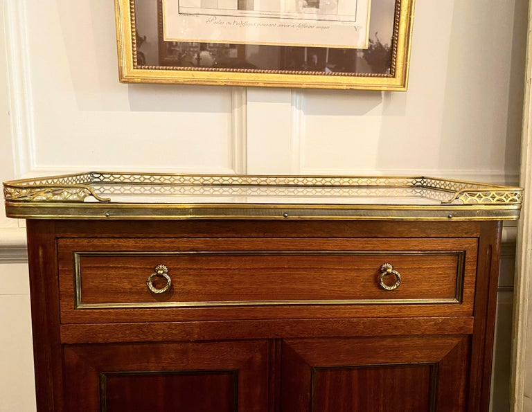 Louis XVI Style Cabinet or Small Cupboard with Marble Top, Bronze Gallery For Sale 12