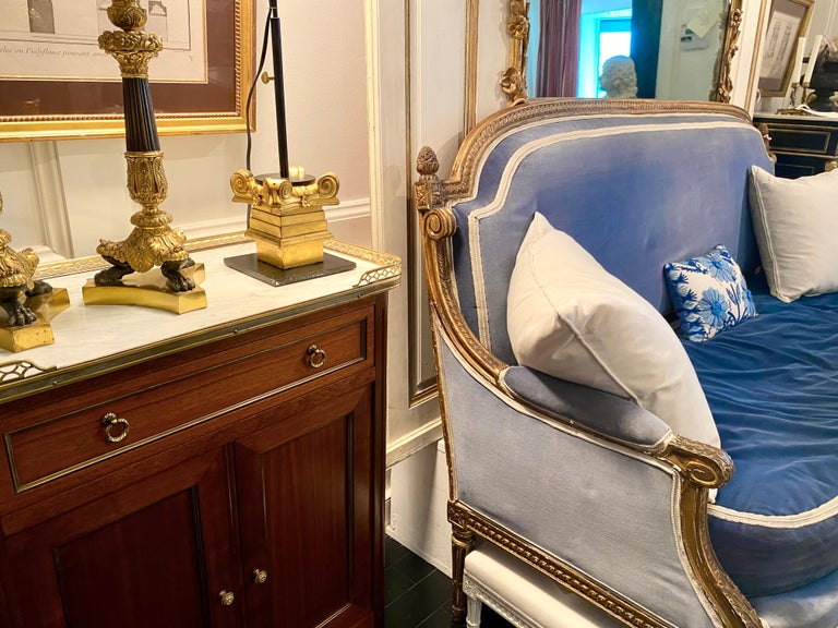 Louis XVI Style Cabinet or Small Cupboard with Marble Top, Bronze Gallery For Sale 14