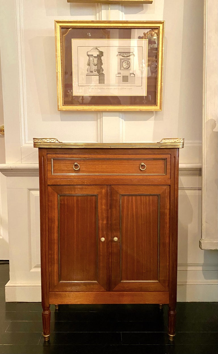 Louis XVI Style Cabinet or Small Cupboard with Marble Top, Bronze Gallery For Sale 15