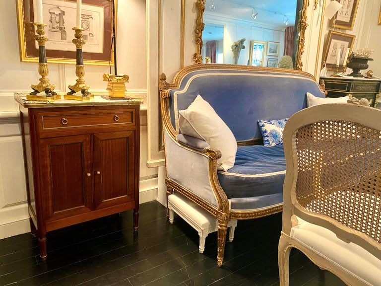 20th Century Louis XVI Style Cabinet or Small Cupboard with Marble Top, Bronze Gallery For Sale