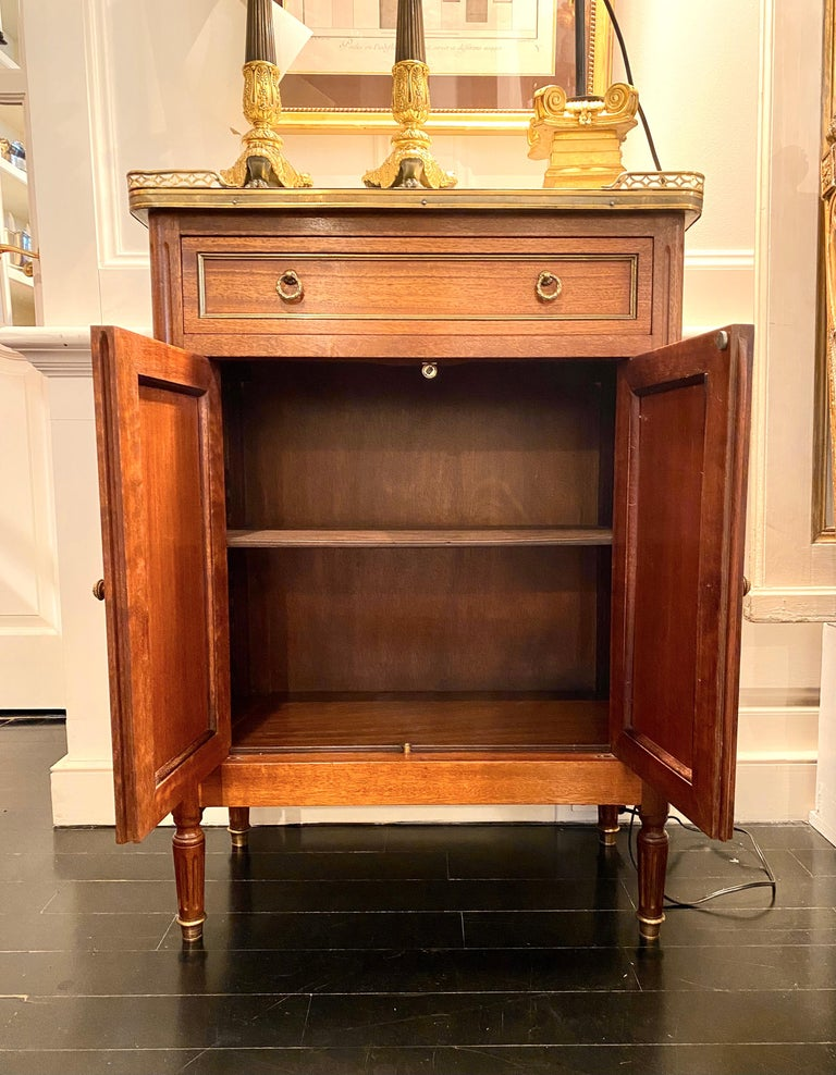 Louis XVI Style Cabinet or Small Cupboard with Marble Top, Bronze Gallery For Sale 2
