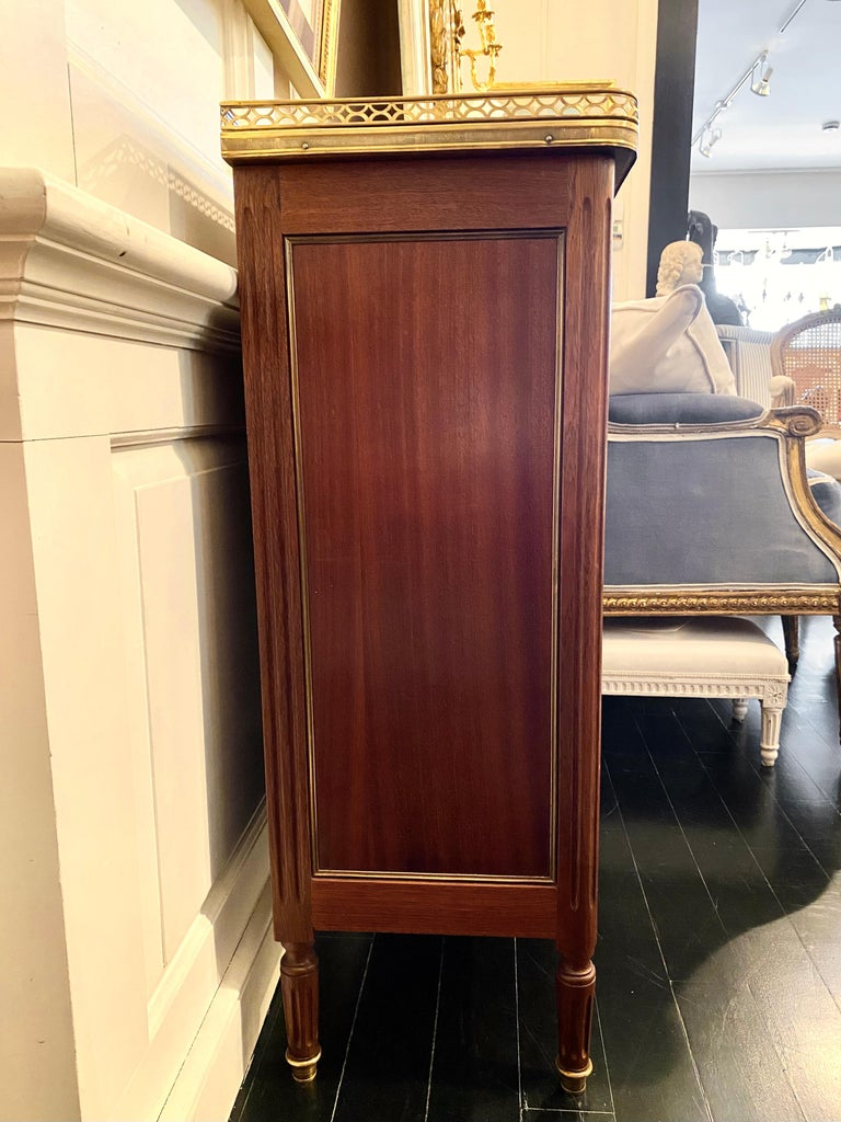 Louis XVI Style Cabinet or Small Cupboard with Marble Top, Bronze Gallery For Sale 4
