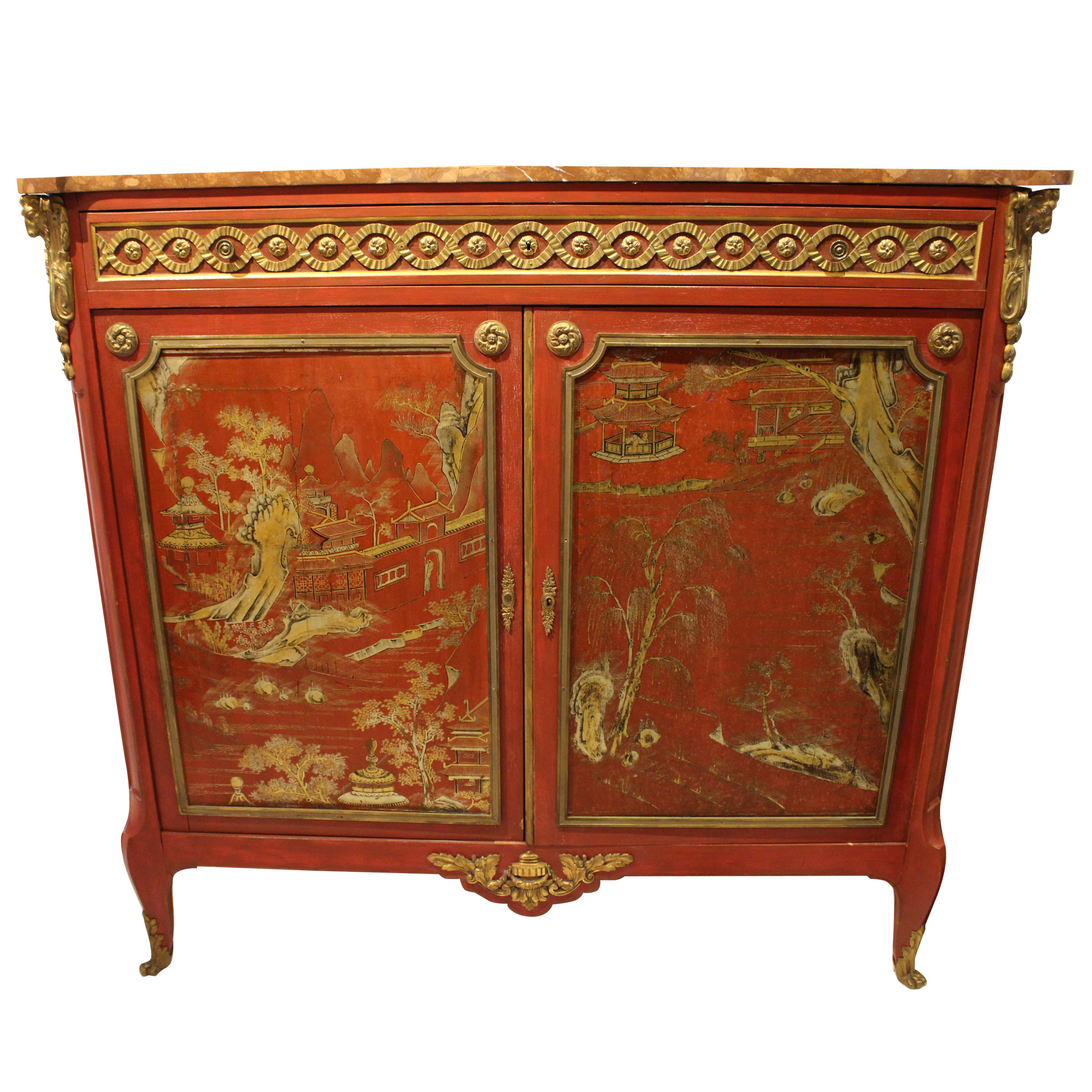 Louis XVI Style Cabinet with Salmon Marble Top
