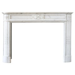 Louis XVI Style Carrara Marble Fireplace