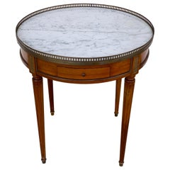 Louis XVI Style Carrera Marble-Top Bouillotte Table, Stamped Made in France