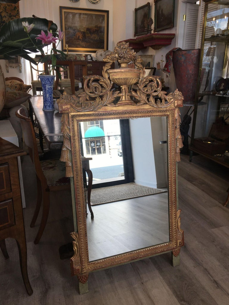 Louis XVI Style Carved and Gilded French Provincial Mirror, 19th Century In Good Condition For Sale In Doylestown, PA