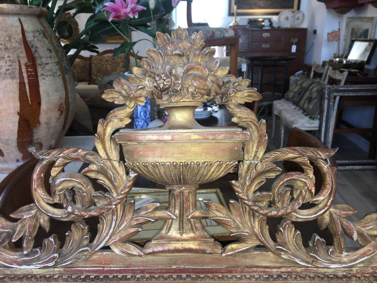 Giltwood Louis XVI Style Carved and Gilded French Provincial Mirror, 19th Century For Sale
