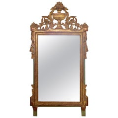 Louis XVI Style Carved and Gilded French Provincial Mirror, 19th Century