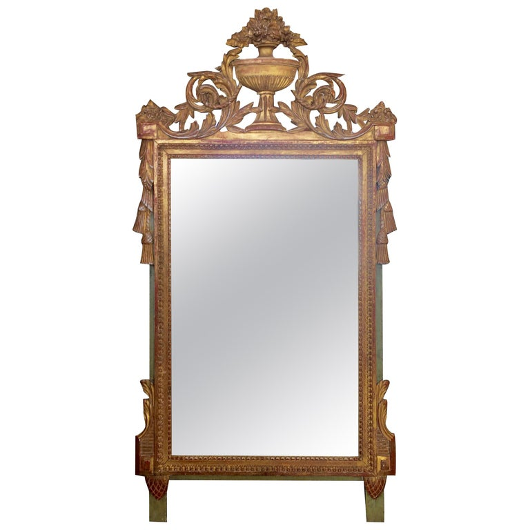 Louis XVI Style Carved and Gilded French Provincial Mirror, 19th Century For Sale