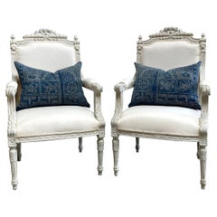 Louis XVI Style Carved and Painted Open Arm Chairs