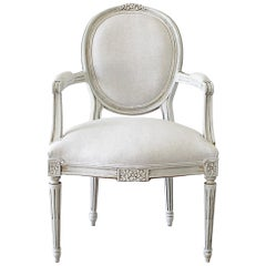 Louis XVI Style Carved and Painted Ribbon Armchair