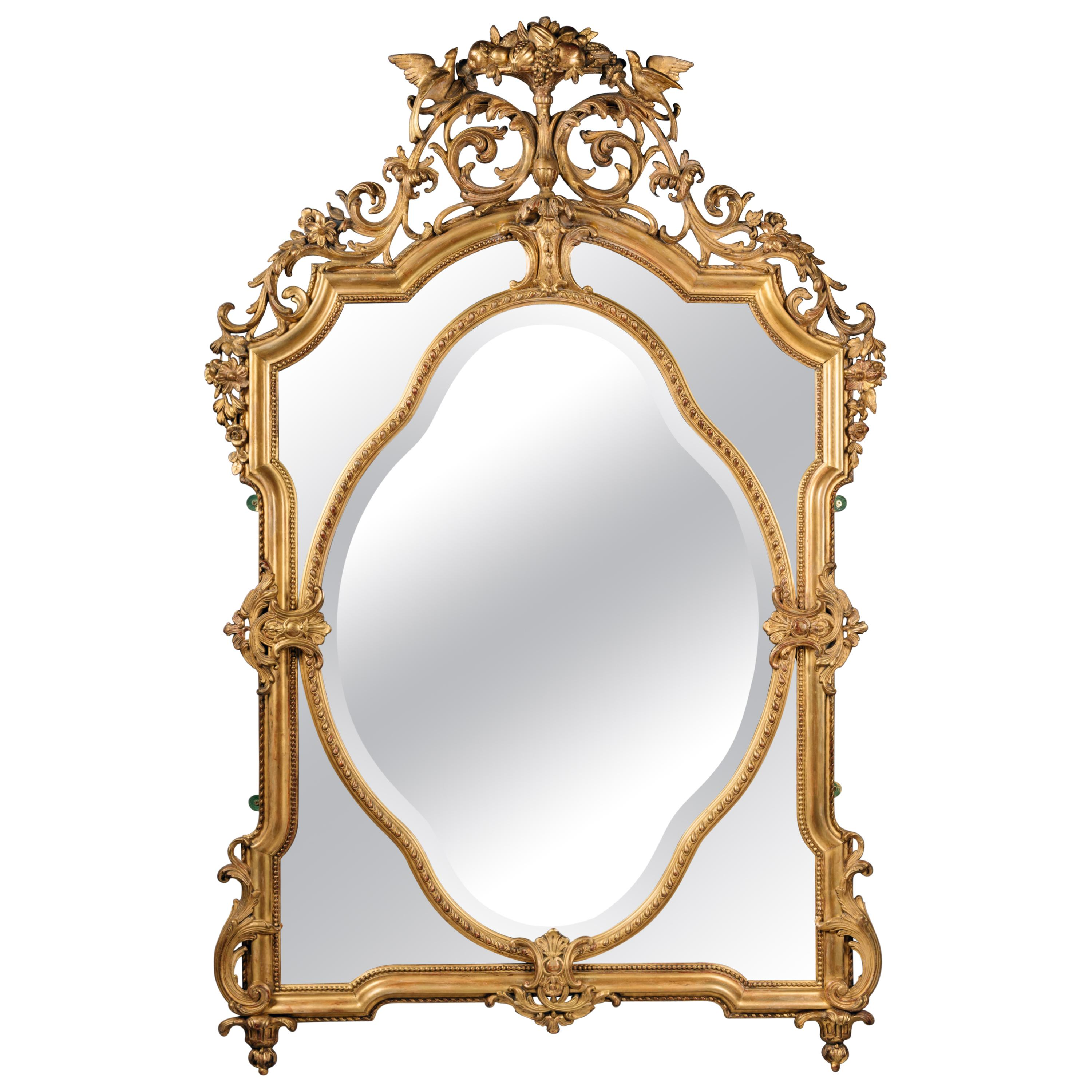 Louis XVI Style Carved Giltwood and Gesso Mirror