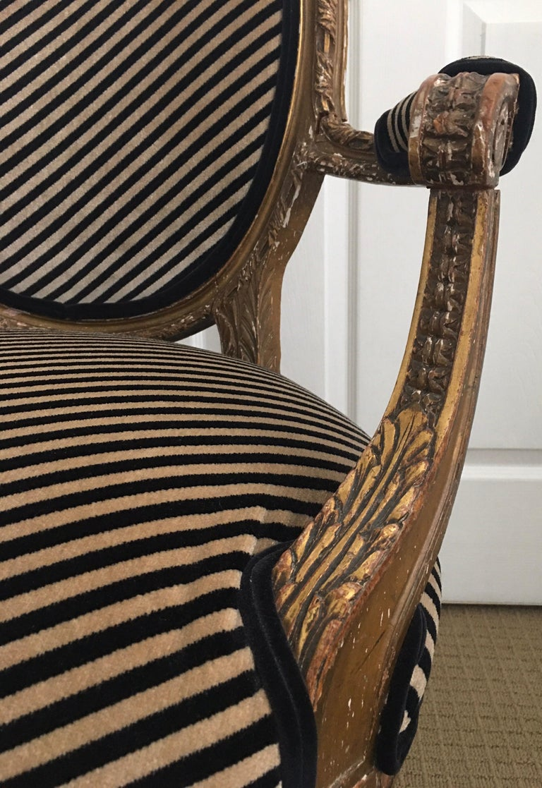 Louis XVI Style Carved Giltwood Armchair with Modern Stripe Upholstery For Sale 8