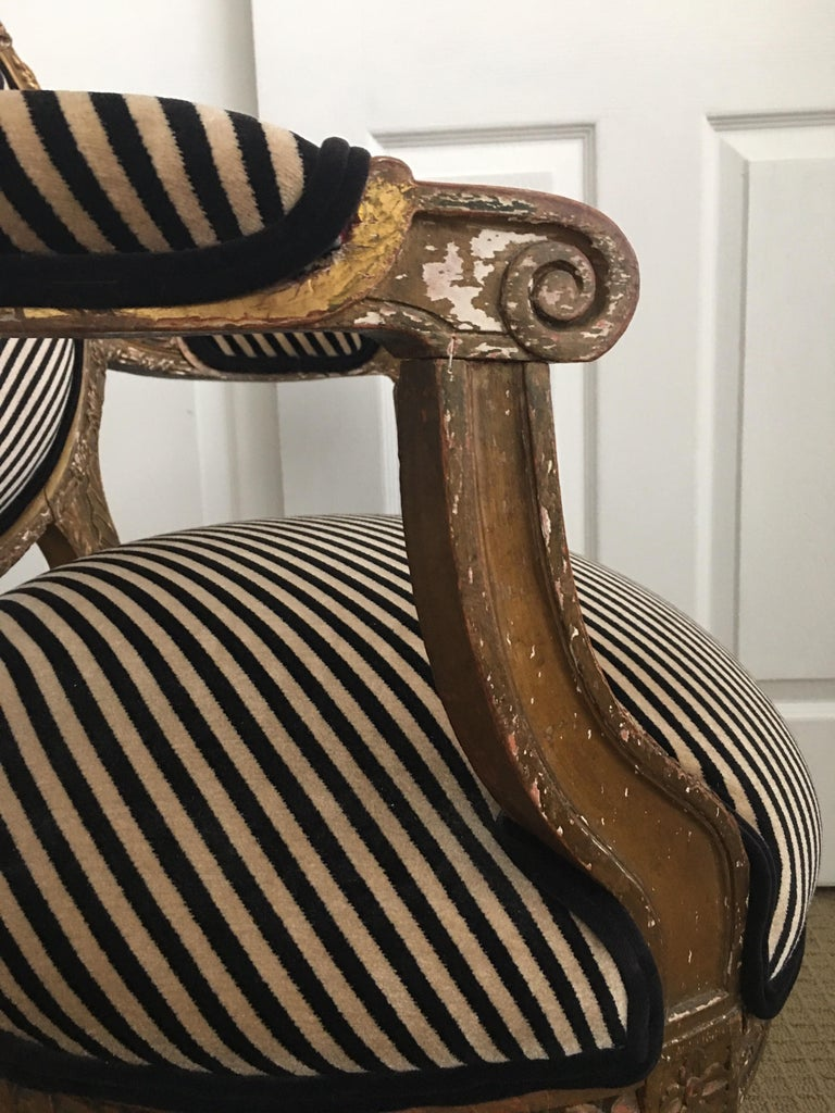 Louis XVI Style Carved Giltwood Armchair with Modern Stripe Upholstery For Sale 9