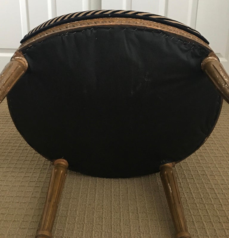 Louis XVI Style Carved Giltwood Armchair with Modern Stripe Upholstery For Sale 14
