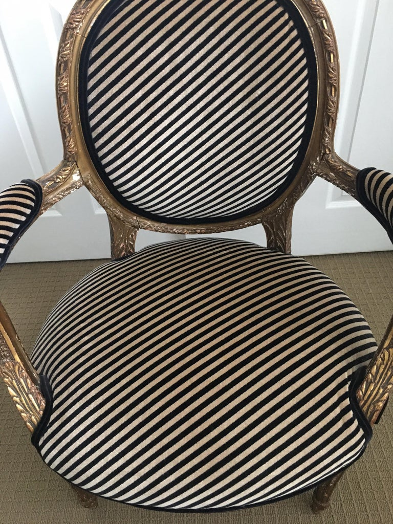 Louis XVI Style Carved Giltwood Armchair with Modern Stripe Upholstery For Sale 1