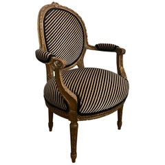 Louis XVI Style Carved Giltwood Fauteuil Armchair with Modern Stripe Upholstery