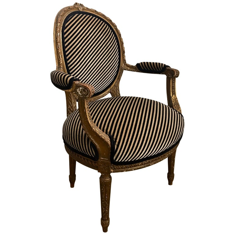 Louis XVI Style Carved Giltwood Armchair with Modern Stripe Upholstery For Sale