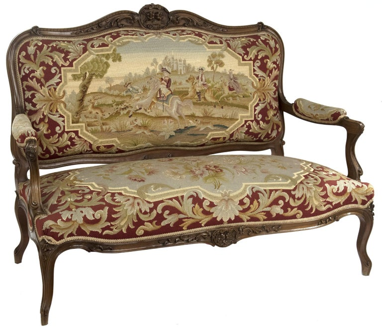 French Louis XV Style Carved Walnut Tapestry Sofa For Sale