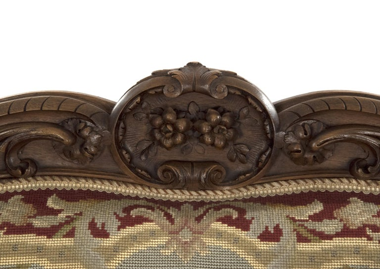 Louis XV Style Carved Walnut Tapestry Sofa In Good Condition For Sale In Salt Lake City, UT