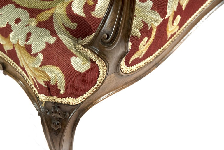 Louis XV Style Carved Walnut Tapestry Sofa For Sale 1