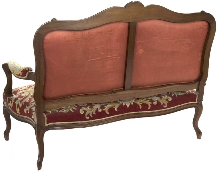 Louis XV Style Carved Walnut Tapestry Sofa For Sale 2