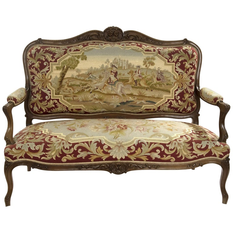 Louis Xv Style Carved Walnut Tapestry