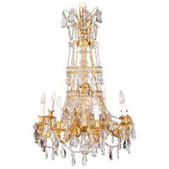 Louis XVI Style Chandelier in Gilt Bronze and Crystal, circa 1900
